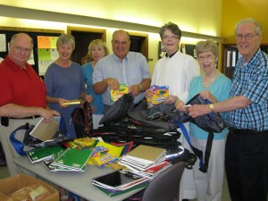 Members of the Congregation Packing School Supplies