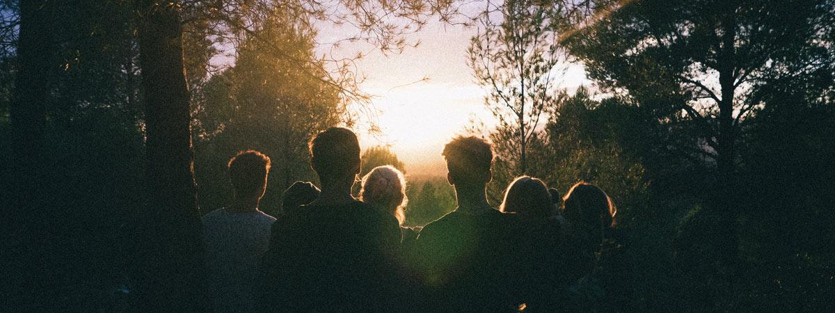 stock photo people watching sunset
